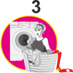 lady sits ready to work in front of washing machine